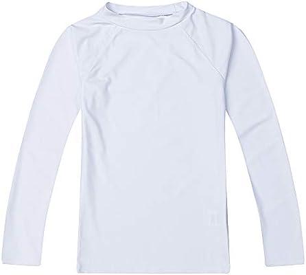 LACOFIA Traje de baño Infantil Camiseta de baño de Manga Corta para niños Rashguard con protección Solar UPF 50 + Secado rapido Blanco 116: Amazon.es: Deportes y aire libre