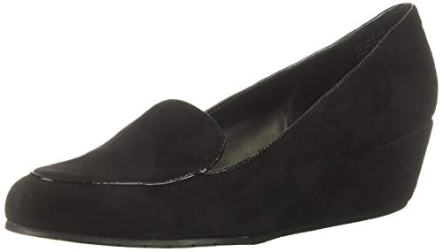 Kenneth Cole REACTION Women's Tip Wedge Pump Loafer, Black Suede 7 M US