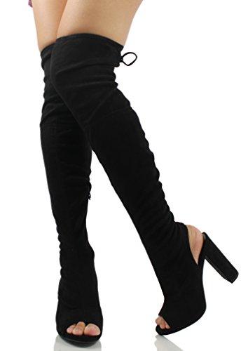 Délicieuses Femmes Faux Suède Extensible Bout Ouvert Ouverte Sur Le Bloc De Genou Talon Chunky Boot Noir