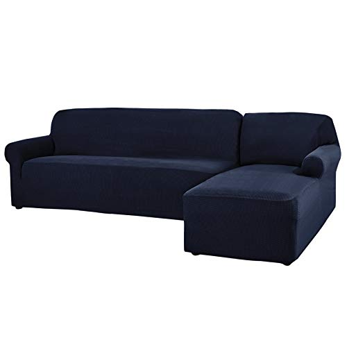 L-shaped Right Sectional - CHUN YI 2 Pieces L-Shaped Jacquard Polyester Stretch Fabric Sectional Sofa Slipcovers (Right Chaise, Dark Blue)