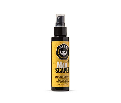 GIBS Grooming Manscaper Beard, Hair & Tattoo Oil – All-Natural with Grapefruit, Tobacco Flower, Saffron & Cedar Scent- Softens & Strengthens Beard Growth, Moisturizes Skin, 4oz.