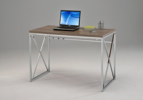 Sonoma Oak Reclaimed Finish Chrome Metal X-Design Computer Writing Desk, 45