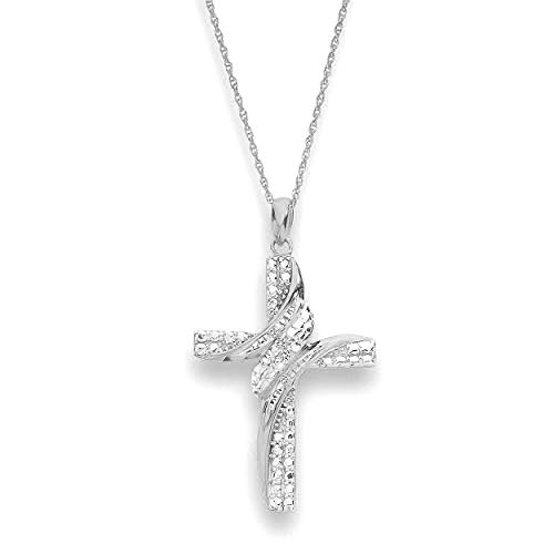 NATALIA DRAKE 0.05cttw Diamond Accent Cross Shape Pendant in Sterling Silver ()