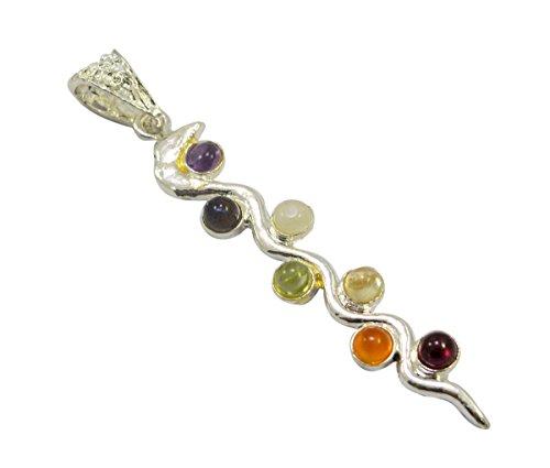 Krishna Mart 7 Chakra Healing Point Stone Necklace Crystal Gemstone Energy Quartz Spiral Pendant - Quartz Spiral Pendant