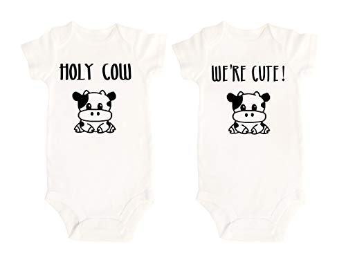 Lil' Cubster Baby Boy Baby Girl Toddler Twin Onesie Bodysuit Outfit Funny Humorous Apparel Newborn Gift 0-12 Months (12 Months, Cow)