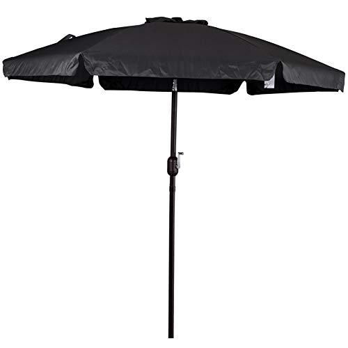 Sundale Outdoor 7.5 Feet Aluminum Beach Drape Umbrella Table Market Umbrella with Crank and Push Button Tilt for Patio, Garden, Deck, Backyard, Pool, 6 Fiberglass Ribs, 100% Polyester Canopy (Black)