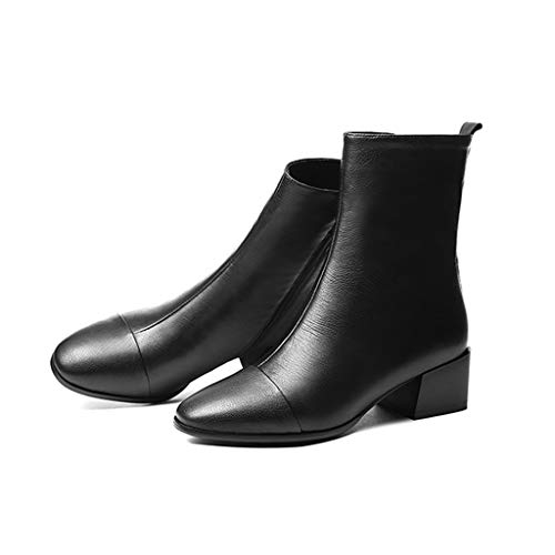 Tobillo Velvet Negro Black Un Otoño E 37 Mujer New Thick Wind Boots 2018 Plus Con Square Slim Pequeño Tamaño Head Feaona Martin Negro British Invierno color HAzq4