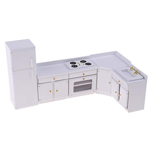 Fityle 1:12 Miniature Furniture White Wooden Kitchen Cabinet Sink Stove Samll Refrigerator Set for Dolls House