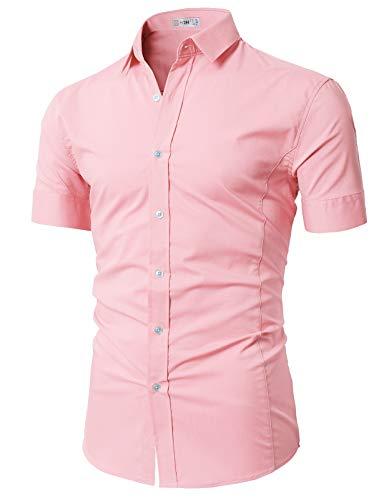 (H2H Mens Basic Fashion Dressy Short Sleeves Shirt Pink US L/Asia XL (KMTSTS0133) )