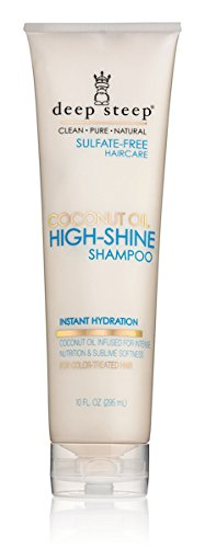Deep Steep Coconut Oil High Shine Shampoo with Organic Coconut Oil, Sulfate Free, Vegan, Gluten Free, Non GMO, No Parabens or Chemical Preservatives, 100% Natural Ingredients (Coconut Shine)