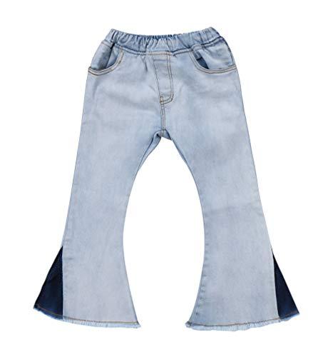 Toddler Little Kid Girls Denim Jeans Bell Bottom Flare Pants Leggings Trousers (2-3Y, White)