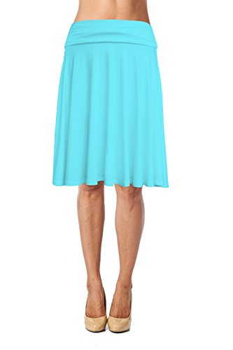 Womens Basic Soft Stretch Mid Midi Knee Length Flare Flowy Skirt Made in ()