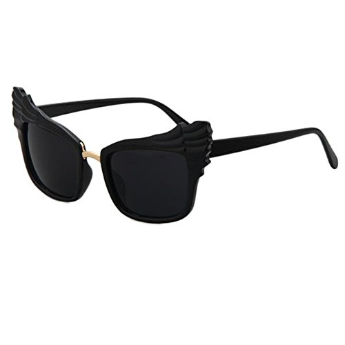 WIIPU Oversized Cat Eye Feather Wings Vintage Sunglasses(S291) (Black, - Sunglasses Cat Wing