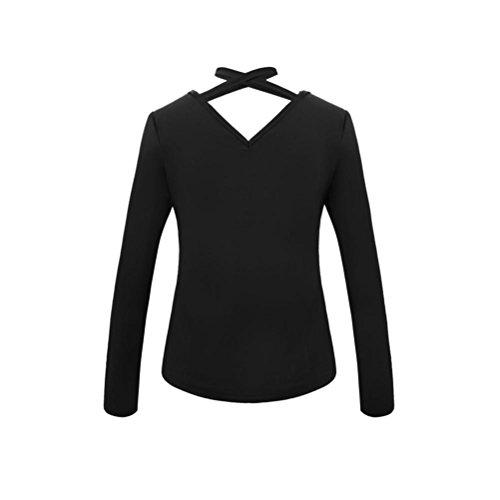 Maniche Dragon868 Fit Slim Camicie Nero Incrociate In Camicie Fascia Lunghe Moda Top Donna Sexy qTrAT8xt