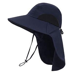 Men/Womens Foldable Flap Cover UPF 50+ UV Protective Wide Brim Bucket Sun Hat