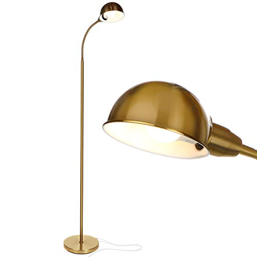 Brightech Regent - LED Reading, Craft & Task Floor Lamp - Free Standing Modern Pole Light with Adjustable Gooseneck - Tall Office Reading Light Goes Over Desk - Antique Brass