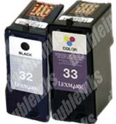 Combo Pack Lexmark 32/33 Remanufactured (1 BLK+1 CLR)