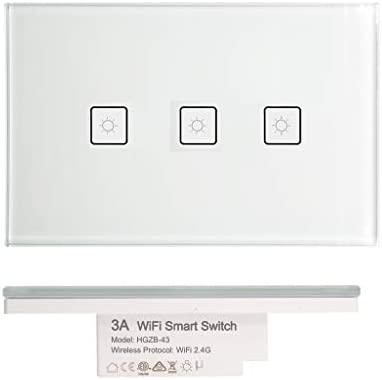 AU Approved wifi smart light switch downlight for Google Home Alexa 3Gang white