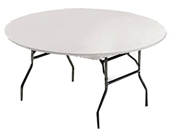 Creative Converting Round Stay Put Plastic Table Cover, 60 Inch, White