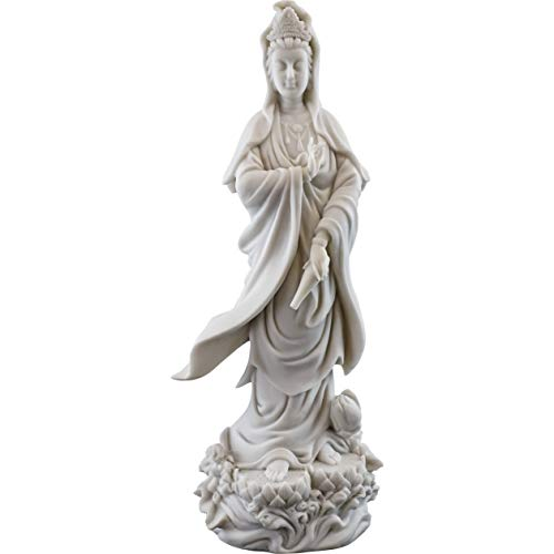 Top Collection Quan Yin Statue on Lotus Pedestal - Kwan Yin Goddess of Mercy and Compassion Sculpture in White Marble Finish- 12.5-Inch Buddhist - Lotus Pedestal