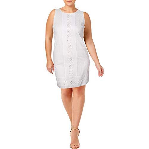 Ivanka Trump Womens Amalfi Cotton Sleeveless Casual Dress White 6 ()