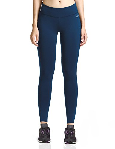 Baleaf Women's Ankle Legging Yoga Pants Inner Pocket Non See-Through Denim Blue Size M
