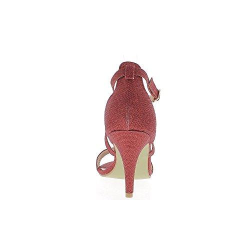 Tolle Sandalen Größe rot paillettenbesetztem 9cm Absatz
