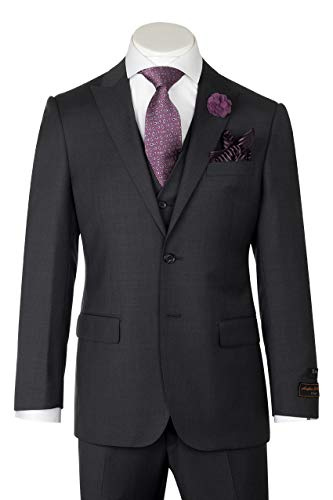 Tiglio Luxe Tufo, Modern Fit, Dark Gray, Pure Wool Suit & Vest TIG1008