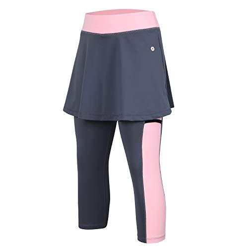 Skirted Legging for Women, Women Skirted Capri Leggings Tennis Pants with Phone and Ball Pockets& Sports Capri Skirted Leggings(Pink,3XL-Pockets)