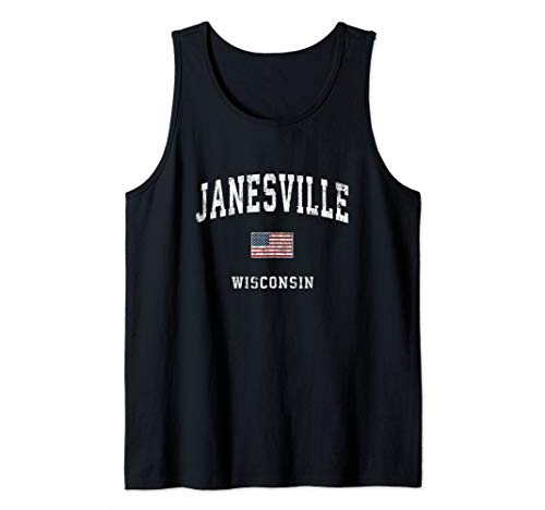 Janesville Wisconsin WI Vintage American Flag Sports Design Tank Top