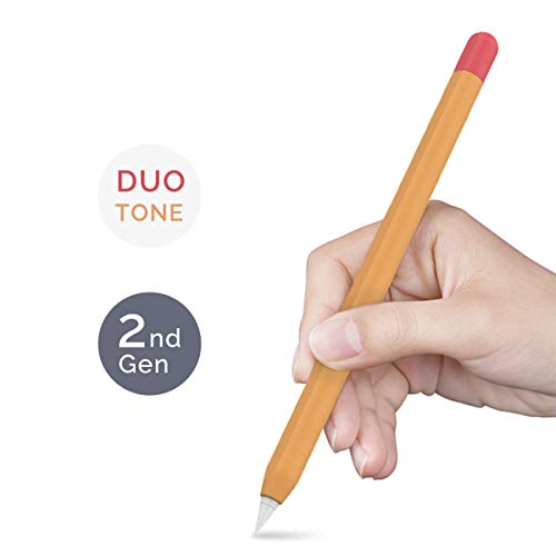 AHASTYLE Duotone Case Silicone Skin Cover Compatible with Apple Pencil 2nd Generation, iPad Pro 11 12.9 inch 2018 (Orange, Red) (Skin Ipad Cases)