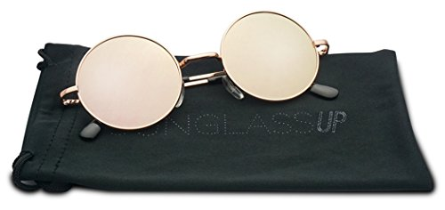 45mm Retro Round Circle John Lennon Color Mirrored Flat Steampunk Style Sun Glasses (Rose Gold / Pink Lens, - Gold Sunglasses Rose Round