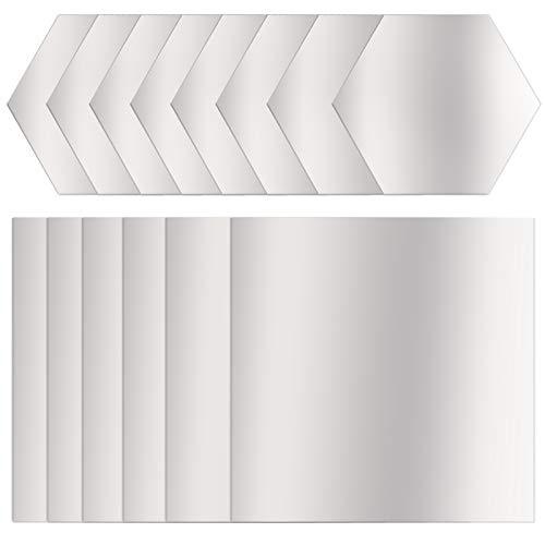 CKANDAY 21 hojas de pegatinas de pared de espejo cuadrado y hexagonal, autoadhesivas, de plastico, para la escuela, educativa, decoracion del hogar, sala de estar, dormitorio, sofa, TV, fondo de pared