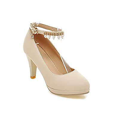 BalaMasa Womens APL12065 Low-Cut Uppers Closed-Toe Travel Beige Pu Stiletto Heels - 2 UK (Lable:33)