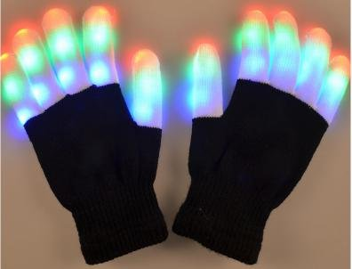 ASSIS Flashing LED Finger Light Gloves Holloween Party LED 6 Colors Light Show Gloves The Best Gloving & Lightshow Dancing Gloves for Clubbing, Rave, Birthday, Disco, and Dubstep Party