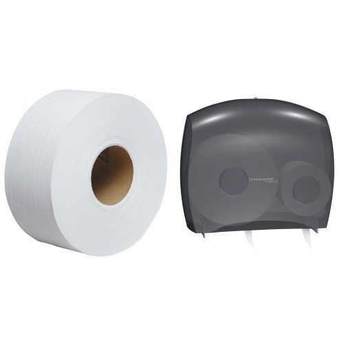 Price comparison product image Kimberly-Clark IN-SIGHT JRT Escort unior Jumbo Roll Bath Tissue Dispenser with Stub Roll With 12-Pack Kleenex Cottonelle JRT Jr. Bathroom Tissue Refill Bundle