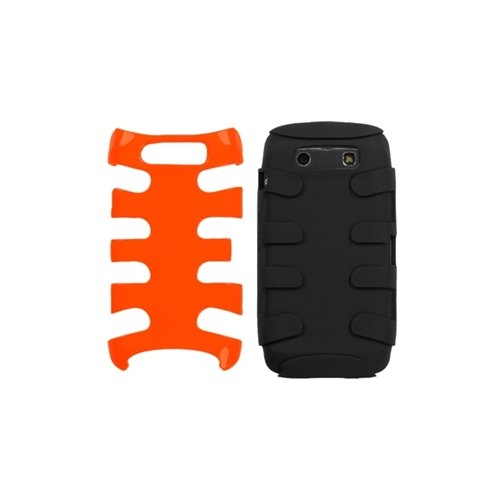 MyBat BB9850HPCSK038NP Fishbone Protective Case for BlackBerry Torch 9850-1 Pack - Retail Packaging - Carrot Orange/Black -