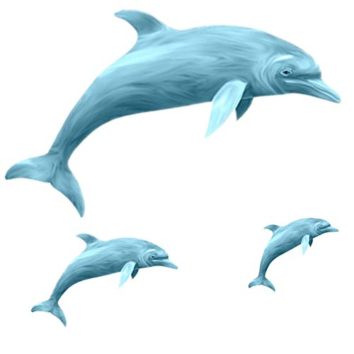Amaonm Removable 3 Pcs Jumping Blue Dolphin Wall Decals DIY Wall Stickers 3D Nursery Art Decor Peel Stick Decoration Decal for Girls Bedroom Kids Bathroom Living Room Window Door Sticker - Creatures Dolphins Sea