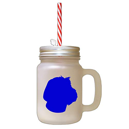 Royal Blue Wirehaired Pointing Griffon Silhouette Frosted Glass Mason Jar With Straw