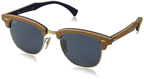 Ray-Ban CLUBMASTER (M) - CHERRY RUBBER BLUE Frame GREY Lenses 51mm - Ban Ray Wood