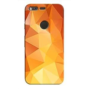 Cover It Up - Orange White Pixel Triangles Google Pixel Hard Case
