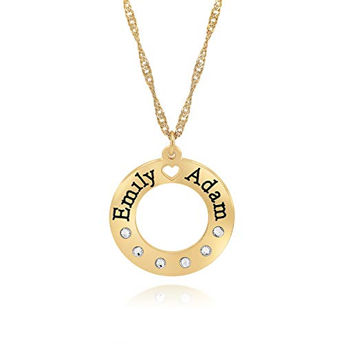 Crystal Swarovski Monogram Engraved - Fresh Jewelry Gold Plated Lovers Names Necklace Round with Swarovski Crystals, Monogram Personalized Gift Personalized Engraved (16)