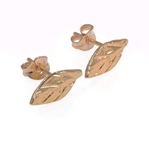 leaf stud earrings gold 14k tiny everyday studs ()