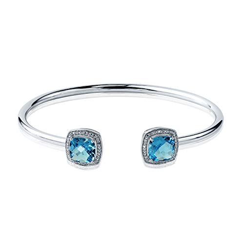 Sterling Silver Cushion-Cut Swiss-Blue topaz and Halo Diamond Stackable Cuff Bangle Bracelet 4.50 ct