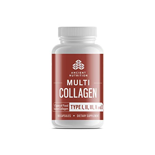 Ancient Nutrition Multi Collagen, 90 Capsules - High-Quality Blend of Grass-Fed Beef, Chicken, Wild Fish and Eggshell Collagen Peptides, Providing Type I, II, III, V and X ()