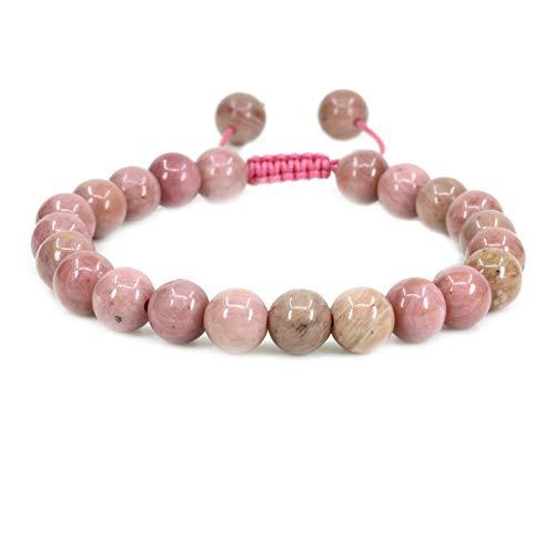 - Amandastone Natural Pink Rhodonite Gemstone 8mm Round Beads Adjustable Braided Macrame Tassels Chakra Reiki Bracelets 7-9 inch Unisex