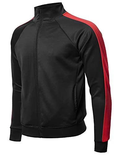 (Premium Quality Shoulder Panel Zip-Up Track Jacket Black Red S)