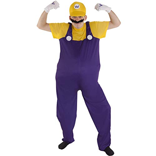 Morph Adult Super Wario Costume, 80's Plumber Gaming Outfit Size Std 42-44