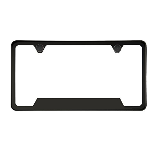 (One Matte Black T304 Stainless Steel Bottom Cut Out License Plate Frame Holder Front Or Rear Bracket with Aluminum Screw Cap)