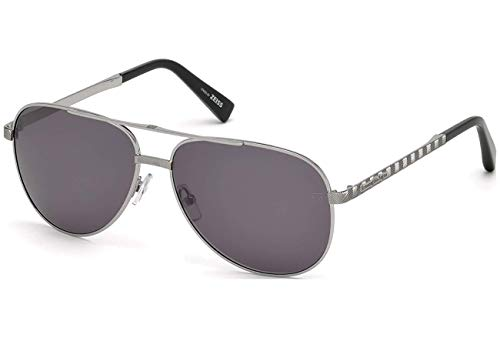 (Ermenegildo Zegna EZ0027 - 12A Sunglasses shiny dark ruthenium frame w/ GREY Lens 60mm)